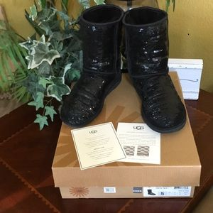 IOB UGG Black Sequin Classic Short Boots